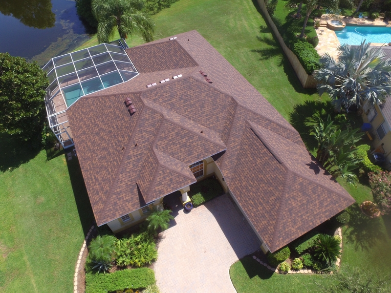 Aerial view of a Tampa home with a newly installed asphalt shingle roof