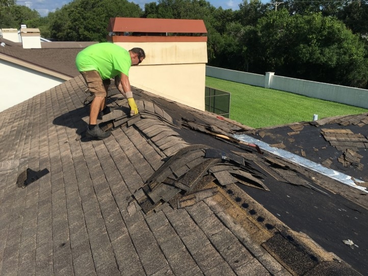 Roofing contractor tearing off damaged asphalt shingles to repair a leaky roof